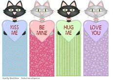 Love Cats Book Marks on Craftsuprint designed by Rhonda Brittain - This is a set of four very cut cats each one with a different sayingKiss meBe MineHug meLove You - Now available for download!