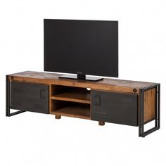Tv-meubel Manchester II - massief acaciahout/metaal | home24.be