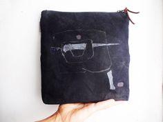 Black Yellow Waxed Urban Glam Clutch Bag by koatye1 on Etsy