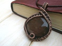 Pink Labradorite Wire Wrapped Pendant Copper by EmmaWyattArt