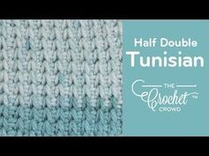 How to Crochet Tunisian Half Double Stitch - Beginning to Cast Off Crochet Afghans, Crochet Stitches For Blankets, Tunisian Crochet Patterns, Knit Stitches, Knitting Patterns, Crochet Crowd, All Free Crochet, Love Crochet, Learn To Crochet