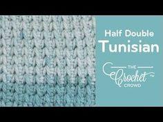 How to Crochet Tunisian Half Double Stitch - Beginning to Cast Off Crochet Afghans, Tunisian Crochet Patterns, Crochet Motif, Knitting Patterns, Crochet Crowd, Love Crochet, Learn To Crochet, Easy Crochet, Crochet Videos