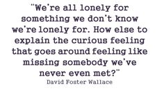 We're all lonely for something we don't know we're lonely for. How else to explain the curious feeling that goes around feeling like missing somebody we've never even met? ~David Foster Wallace    Inspirational Quote