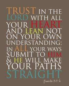 Provers 3:5-6; Proverbs 3:5 is my favorite verse from the bible