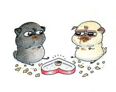 Funny Valentine's Day Card for Friends - Box of Chocolates and Two Fat Pugs - Best Friends #pug Valentine from INKPUG