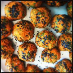 i made these sweet potato falafel from @heidi swanson's 101 cookbooks for sunday supper last night.  so good!  #whatveganseat