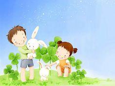 儿童节 - 可爱儿童插画壁纸 - 兄妹 - 韩国卡通儿童插画5