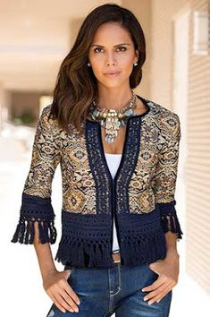 Fringe Trim Jacket Like a work of art, our tapestry-inspired jacquard has allover sparkle detail with an embroidered placket, hook-and-eye closure, velvet border with embroidered overlay and kno Boho Outfits, Fashion Outfits, Fashion Tips, Fashion Trends, Kleidung Design, Diy Clothes, Clothes For Women, Bohemian Lifestyle, Mode Chic