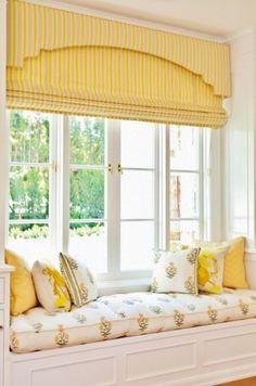 Airy window seat with custom window treatments. Window Seat Curtains, Window Nooks, Blinds Curtains, Burlap Curtains, Window Wall, Window Seat Kitchen, Cosy Home, Custom Window Treatments, Cozy Nook