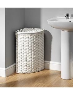 White Rattan Corner Laundry Bin | M&S