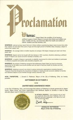 Kettering, OH - Mayoral proclamation recognizing Diaper Need Awareness Week (Sept. 28 - Oct. 4, 2015) #DiaperNeed www.diaperneed.org