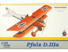 The Eduard Pfalz D.IIIa in 1/48 scale from the plastic aircraft model range accurately recreates the real life German fighter aircraft flown during World War I. This plastic aircraft kit requires paint and glue to complete.