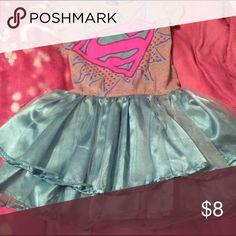6/6x Supergirl Logo Dress with Ruffles -- SO CUTE! 6/6x Supergirl Logo Dress with Ruffles -- SO CUTE! Superman Dresses Casual
