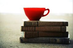 red teacup and a stack of books Book Works, Coffee And Books, Stack Of Books, Reading Material, Book Reader, Book Publishing, Writing A Book, Drinking Tea, Eating Well