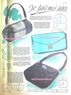 New Vintage Pattern Free Sewing Fabrics Ideas Vintage Purses, Vintage Bags, Vintage Handbags, Vintage Knitting, Vintage Sewing Patterns, Diy Handbag, Purse Patterns, Free Sewing, Bag Making