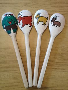 *** love this idea for TONS of preschool stuff! The Three Billy Goats Gruff wooden spoon puppets. Great for re-telling the story.