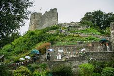 Lewes Castle - Image by Navy Blur - Bride in lace wedding dress & shoes with dried flower headpiece. Groom wears tweed suit & bow tie & bridesmaids in mis-match dresses for a rustic castle, vineyard & marquee wedding with autumnal colour scheme. Marquee Wedding, Wedding Venues, Wedding Day, Best Wedding Dresses, Boho Wedding Dress, Lace Wedding, Lewes Castle, Wedding Venue Inspiration, Tweed Suits