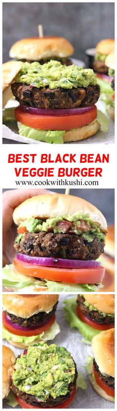 This Black Bean Burger is thick, healthy and hearty, quick and easy to make fool proof vegetarian recipe. Even meat eaters are going to love this low calorie food for breakfast, lunch, or dinner!  #burgerpatty #4thofjulyrecipes #summerfoodideas #Veggieburger #veganburger #glutenfreeburger #vegetarianburger #patties #burgerrecipes #veggiegrill #mexicanrecipes #burgerkingveggieburger  #cincodemayo #meatlessburger #lowcaloriemeal #dinnerideas #proteinrichfood #barbeque #bbq #guacamole… Burger Recipes, Mexican Food Recipes, Vegetarian Recipes Easy, Easy Dinner Recipes, Healthy Recipes, Raw Recipes, Low Calorie Recipes, Vegan Meals, Delicious Recipes
