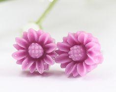 Purple Sunflower Ear Posts, Bridal Jewelry, Bridesmaids Gift,