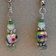 Cloisonné bead Earring Green, blue, pink cloisonné bead with jade and moon stone earrings. Jewelry Earrings