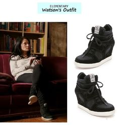 Elementary Ep. 119: Joan Watson's (Lucy Liu) black wedge sneakers   High Tops