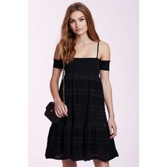 Vintage Chanel Bianca Boucle� Dress ($950) ❤ liked on Polyvore featuring dresses, black, sleeve dress, empire line dress, off shoulder sleeve dress, strappy dress and vintage mini dress