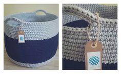 • www.facebook.com/wloczy.sie •   Handmade crochet big basket / szydełkowy duży kosz ze sznurka bawełnianego / kosz na zabawki