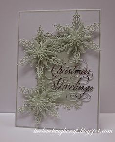 Pinnacle Crafts: Snowflake Greetings....Spellbinders S5-015 Snowflake Views (Base Frame) Spellbinders S4-433 Snowflake Bliss (Snowflakes) Tattered Lace Die - D448 Christmas Greetings, D446 Happy Christmas Sue Wilson Die - CED3004 Let it Snow