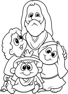 Jesus blesses the children coloring page to print  from
