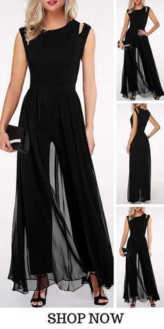 17 Black Round Neck High Waist Chiffon Overlay Jumpsuit is part of Vintage fashion Denim Shorts - Vintage fashion Denim Shorts Fashion Wear, Look Fashion, Fashion Dresses, Evening Dresses, Formal Dresses, Pretty Dresses, Beautiful Outfits, Ideias Fashion, Dress Up