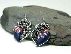 Viana heart earrings portuguese filigree metal silver by Fankikas