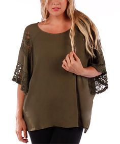 Look what I found on #zulily! Olive Lace Bell Sleeve Top - Plus #zulilyfinds