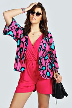 Isobel Neon Floral Kimono at boohoo.com