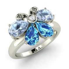 Pear-Cut Aquamarine Ring in 14k White Gold with Blue Topaz,SI Diamond : $ 505.00 only on Diamondere.com