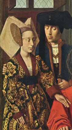 A Man and Woman, detail from St. Eligius in his Workshop, 1449 (Petrus Christus) (1425-1476)   The Metropolitan Museum of Art, New York, NY,...