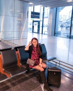 Airport look featuring a velvet dress, black overknee boots, a velvet headband and a Night&Day bag by De Marquet. Airport Look, Airport Style, Day Bag, Day For Night, Dress Outfits, Dresses, Over The Knee Boots, Most Beautiful, Dress Black