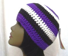 Baltimore Ravens Hat  Purple Black and White by DesiredCrochet