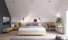 Scandinavian Bedroom Design – Amazing Homes Home Bedroom, Modern Bedroom, Bedroom Decor, Attic Bedrooms, Master Bedroom, Bedroom Wall, Bedroom Ideas, Bed Design, House Design