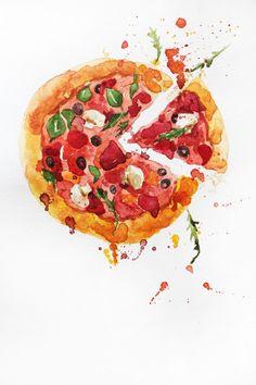 Original watercolor painting, Pizza art, food watercolor, pizza watercolor, Kitchen decor, gift for her, original art, ART OOAK by MaryArtStudio on Etsy