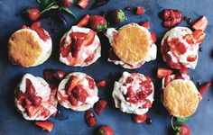 Strawberry-Basil Shortcakes: Love the combination of gently cooked and raw strawberries in this not-too-sweet version of the classic dessert. Mini Desserts, Strawberry Desserts, Classic Desserts, Blue Desserts, Strawberry Summer, Funnel Cakes, Biscotti, Dessert Crepes, Fresco