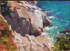 Mike Hernandez, China Cove Carmel 5x7 gouache