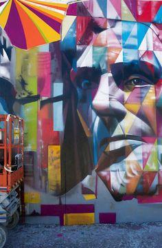 Artist Eduardo Kobra~ Mount Rushmore mural in Los Angeles, California USA