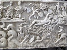 280-300 ad. Front of the sarcophagus of Jonah, from the Vatican necropolis.Ancient Roman,Paleochristian,Vatican Museums Museo Pio Cristiano Rome. Roman Sculpture, Lion Sculpture, African Art, Statue, History, Vatican, Museums, Ss, Christian Art