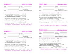 Satin Hands Survey Form   Eye Bundles  Mary Kay