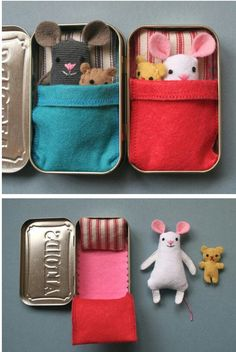 Materials: Altoids tin container, fabric, sewing kit, and stuffing http://ohsweetbabies.com/entertainment-wee-mouse-tin-house.php