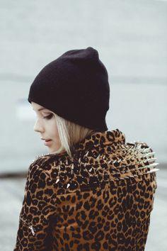 Estampado de leopardo ponyhunter chaqueta con tachuelas pinchos y beanie  negro Moda Otoño Invierno cfaacd24047