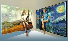 Barbie dotw Argentina Teresa and Barbie University of Alabama Skipper in Van Gogh 's art.
