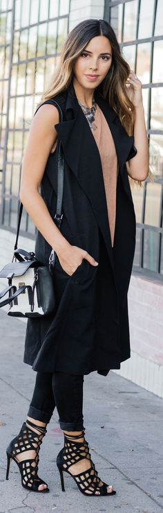 Sivan Ayla Black Long Vest Fall Inspo