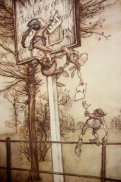 """✽   arthur rackham  -  'peter pan in kensington gardens'  by j m  barrie  """"these tricky fairies sometimes change the board on a ball night"""""""