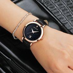 Women Luxury Leather Analog Star Date Dial Quartz Wrist Sport Watch Waterproof #Unbranded #Luxury